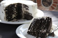 Chocolate Icebox Cake by ovenphilosophy, recipe by smittenkitchen : Like a giant Oreo cake! #Chocolate_Icebox_Cake #smittenkitchen