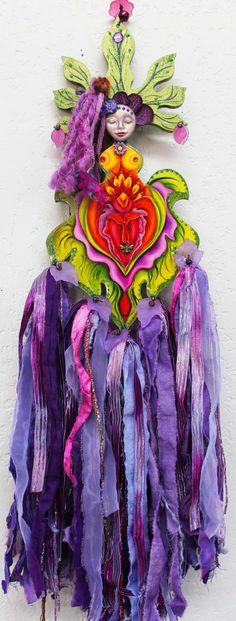 Mixed Media art Doll Flower Goddess Yoni by LoriFelixArtwork