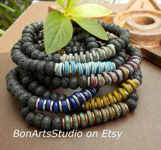 Black Lava Stone Bracelet with Greek Ceramic Beads Custom available at #BonArtsStudio on Etsy Etsy Jewelry, Jewelry Gifts, Beaded Jewelry, Handmade Market, Handmade Gifts, Unisex Gifts, Paper Gift Box, Etsy Crafts, Ceramic Beads