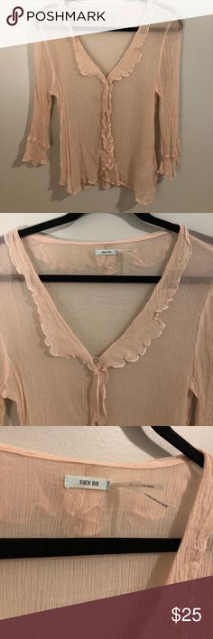 Kimchi Blue Light Pink Blouse Been worn but has no visible signs of wear. In great condition.  Ruffled collar and down center and at end of sleeves. Super comfortable!! Kimchi Blue Tops Blouses