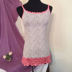 Leopard print w/ coral trim shape wear cami Super soft and gorgeous!  Wear as a camisole or layering top. Sweet Nothings Other
