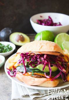 Fiesta Burger with Roasted Poblano Peppers, Cilantro Lime Cabbage Slaw + Firecracker Sauce! (vegan)