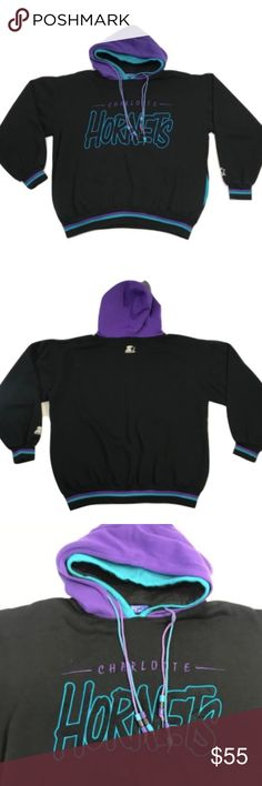 """Vintage 90s Charlotte Hornets NBA Starter Hoodie Vtg 90s Charlotte Hornets Hoodie Mens L Large Starter NBA Double Hood Sweatshirt  In Excellent Used Condition- no rips, tears, holes- Stored in a clean, smoke free home.  Measurements laying flat- Pit to pit: 26"""" Length: 27"""" STARTER Sweaters"""