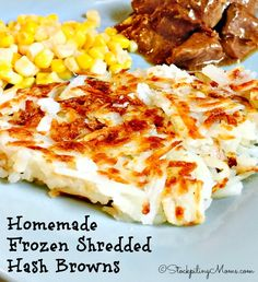 It is so easy to make your own Homemade Frozen Shredded Hash Browns.  It is time consuming, but you can make a very large batch and save money for your family.  My kids love to have hash browns, but they can be a bit pricey at the store for a small bag.  So I decided to try and make my own. Boy am I glad I did because it worked!  So now my family can enjoy Shredded Hash Browns more often. All you need is peeled russet potatoes, grater, large baking sheet and a freezer bag.  Now it does take