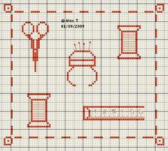 couturière - dressmaker - mètre - ciseaux - bobine - point de croix - cross stitch - Blog : http://broderiemimie44.canalblog.com/