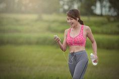 Girl jogging after work.