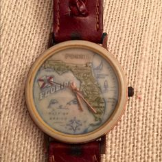 VINTAGE FOSSIL FLORIDA WATCH BROWN  BAND VERY NICE PIECE ITS RUNNING GREAT HAS ORIGINAL BROWN LEATHER BAND  IN GREAT CONDITION MADE IN JAPAN VINTAGE FOSSIL Accessories Watches