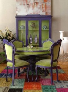 chairs - Its a bold statement and that is why we love it! Purple chair frames and a china hutch stand out in this room Green velvet matches the hutchs inside perfect to create visual harmony Kelly Moore color Geode is a great option to recreate Funky Furniture, Repurposed Furniture, Furniture Makeover, Painted Furniture, Purple Furniture, Funky Home Decor, Diy Home Decor, Room Decor, Purple Chair