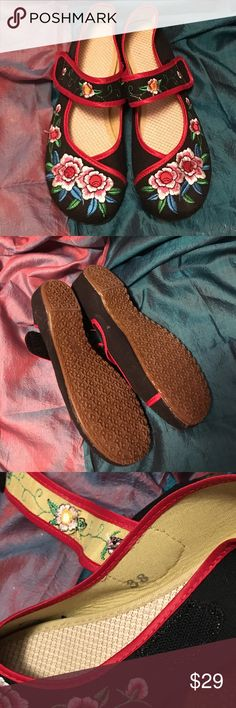 Embroidered Mary Janes Adorable shoes with Velcro closure. Never worn. Shoes