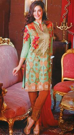 Sea Green/Brown Embroidered Chiffon Dress - by #Charizma Call: (702) 751-3523 Email: Info@PakRobe.com www.pakrobe.com #PartyDresses #ChiffonClothes