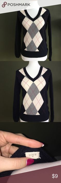 J.Crew Argyle Navy Sweater Size medium navy argyle sweater by J.Crew factory. In good shape. J. Crew Sweaters V-Necks