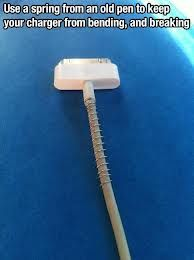 Use a spring from an old pen to keep charger from bending and breaking. life hacks
