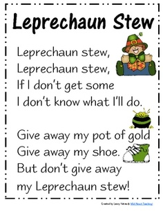 Fun poem for St. Patrick's day!If you enjoy this freebie, please visit my blog (http://wildaboutteaching10.blogspot.com) for more ideas and res...