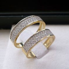 new arrrival! 10K SOLID GOLD HIS & HER 2 piece WEDDING BAND RING SET czs