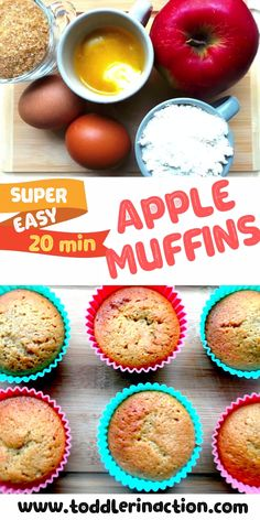 Healthy Toddler Snack or Breakfast – Super Easy Apple Muffins – 20 Min – Toddler Meal ideas Looking for a super easy, healthy toddler snack or breakfast idea? Try out today these super yummy apple muffins. Ready in 20 min, Easy Toddler Snacks, Healthy Toddler Breakfast, Picky Toddler Meals, Baby Breakfast, Healthy Meals For Kids, Easy Snacks, Kids Meals, Apple Breakfast, Kids Meal Ideas