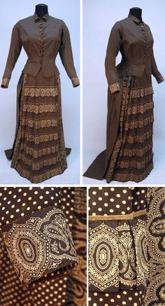 Summer dress, 1880s. Brown cotton with cream-colored dots, trimmed with paisley bands. Bodice, not boned, with small collar & composition buttons. Bustle skirt with ruffled paisley bands on front panel; back panel has 2 rows of gathers. Narrow overskirt in back with ties & pleated hem ruffle. Hem reinforced with buckram, otherwise unlined. Whitaker Auctions