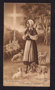 Vintage Holy Card of St. Bernadette. Lourdes, 1940's