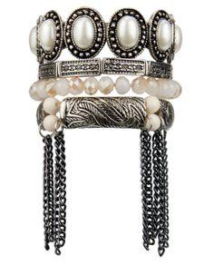Kit 4 pulseiras prateadas contas marfim e pedras peroladas com franja