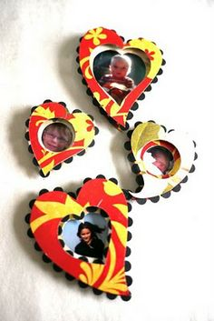 Tissue box photo hearts, plus tutorial. All made from trash, other than the pictures. My favorite.