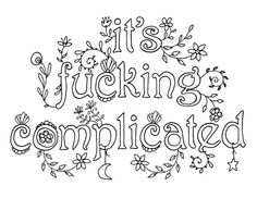 Its Fcking Complicated Adult Swear Word Coloring By Artswearapy