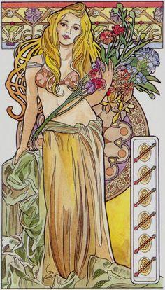 6 de bâtons - Tarot art nouveau par Antonella Castelli