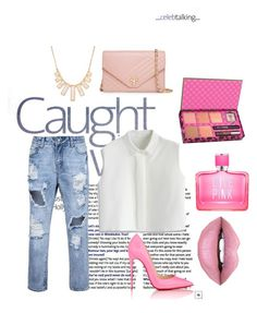 """""""Untitled #25"""" by denii-cristina on Polyvore featuring Christian Louboutin, Chicwish, Fiebiger, Victoria's Secret PINK, Benefit, Tory Burch, Rivka Friedman and Pink"""