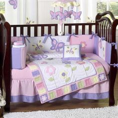 Purple And Pink Crib Bedding | Butterfly Pink and Purple 9 Piece Crib Set by Sweet Jojo Designs