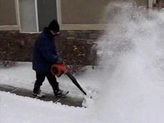 AirJet Shovel attached to leaf blower blowing snow.  AirJet Shovel now available at True Value.  Watch http://youtu.be/uDtfppvaTjc  #truevalue