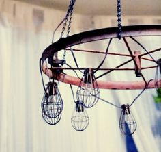 DIY Industrial And Vintage Chandelier   Shelterness    For the pergola/gazebo, could use a wine hoop instead, outdoor lights and chain!