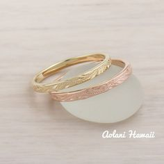 14k Gold Hand Engraved Wedding Rings (2mm width, Flat style)