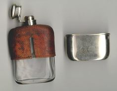 Small antique glass sterling and snake skin miniature flask