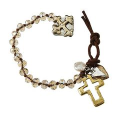 Faceted Glass Knotted Bracelet with Cross