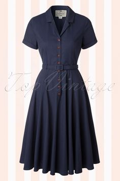 Collectif Cloting Caterina Dark Blue Swing Dress 17741 20151119 Source by Apothycarygrant Vintage Kleider Modest Dresses, Simple Dresses, Casual Dresses, Fashion Dresses, Vintage Dresses 50s, Vintage Tops, Vintage Outfits, Retro Dress, 1940s Fashion