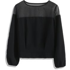 Chicwish In Leisure Company Organza Top in Black (205 DKK) ❤ liked on Polyvore featuring tops, shirts, sweaters, blusas, black, organza shirt, shirt top and organza top