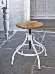 White & Wood Adjustable Stool