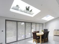 Rectangular skylight on pitched roof Glass Enclosure, Lean To Roof, House Entrance, House Roof, Roof Windows Kitchen, Fibreglass Roof, Roof Light, House Extension Design, Pitched Roof Window