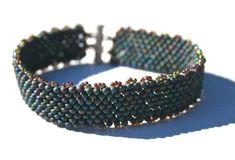 Shades of Blue Peanut Bead Bracelet by SleepingCatsJewelry on Etsy