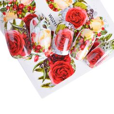 Buy Full Beauty Nail Sticker Optional Blossom Colorful Flower Rose Valentine Water Full Wraps Nail Art Decals Charms Tips CHWG Nail Art Stickers, Nail Decals, Art Quotidien, Nailart, Nail Stencils, Fleur Design, Nail Accessories, Motif Floral, Beauty Full
