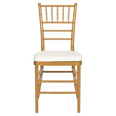 Indoor/outdoor chiavari side chair in gold with a removable tie-on cushion.   Product: Set of 2 chairsConstruction ...