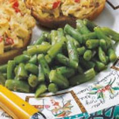 Sauteed Green Beans - So easy and so delicious. I used whole green beans, and found they needed to cook WAY longer. The seasoning is pretty good.