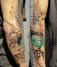 French artist Xoil has a characteristic tattooing style that looks like he has stamped, stenciled, or drawn directly with a felt-tip pen on his clients' bodies.