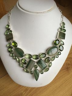 SOLD Chunky green Quartz and Agate necklace by SheRocksGemjewellery