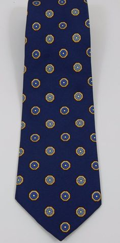 "Brooks Brothers Makers Blue Geometric Pattern  Men's Tie 60"" Long 3 3/4"" Wide #BrooksBrothers #Tie"