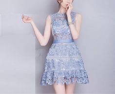 Sleeveless Crochet Hollow Water-Soluble Lace Dress on Luulla
