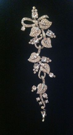 Vintage SIGNED Mazer Rhinestone Articulated Drop Dangle Pin Brooch  5.75 Inches! #Mazer