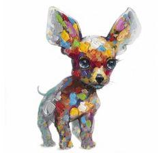 50 x 50 Paint Splotch Chihuahua Canvas