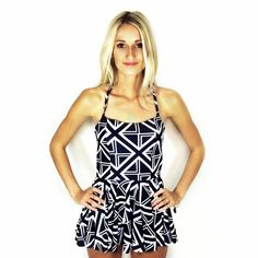 $19.99 Vintage Style MOD Abstract High Low Swimsuit Dress Tankini SALE!! 1 LEFT!! Monokini Suits http://www.monokinisuits.com