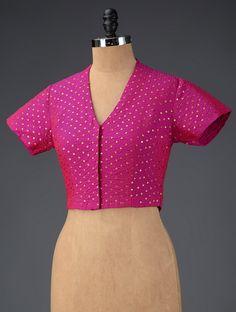 Fuschia Silk Sequins Blouse By Rang Bandhej