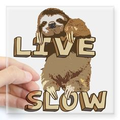 Funny Sloth - LIVE SLOW Sticker on CafePress.com