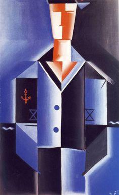 Josef Čapek (Czech 1887–1945) [Cubism] Námořník, 1917. Henri Matisse, Cubist Paintings, Avantgarde, Georges Braque, Spanish Painters, Writers And Poets, Constructivism, Modern Art, Sculptures